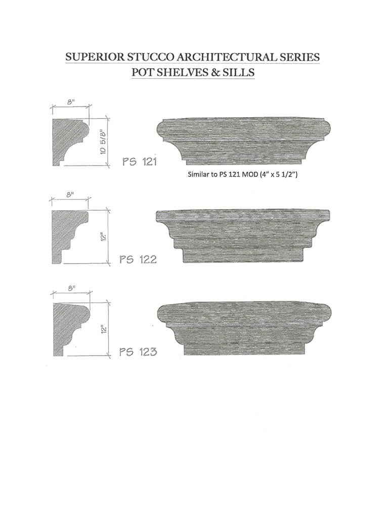 architectural pot shelves and sills